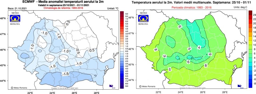 Prognoza meteo pe 4 săptămâni / 25 octombrie – 22 noiembrie 2021